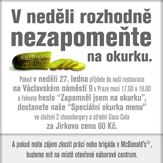 Mcdonalds - Jirkovo Okurka Menu